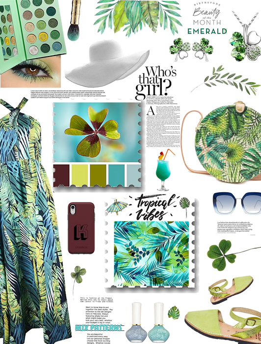 May 26 birthday/Tropical vibes/mix patterns-leaves n clovers