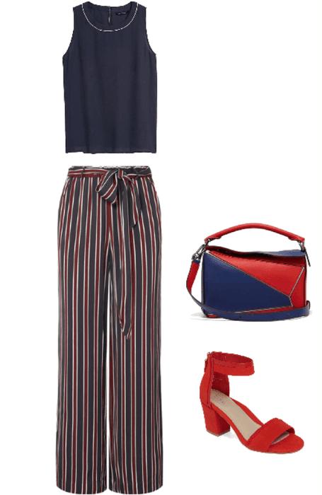 Outfit pantalón a rayas roja y azul