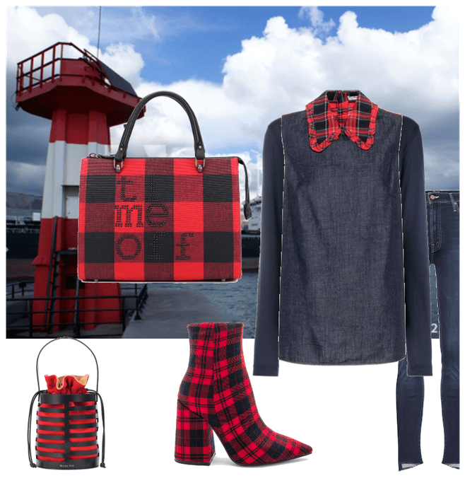 Walk to the Red lighthouse in checkered fabric