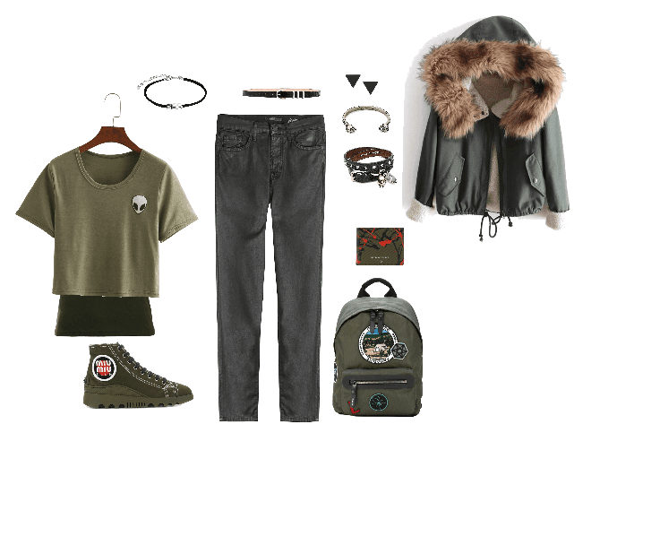 Monochromatic Ayndrogenous Olive Green Outfit