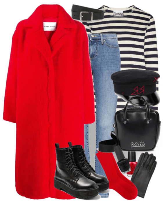 contrast winter outfit