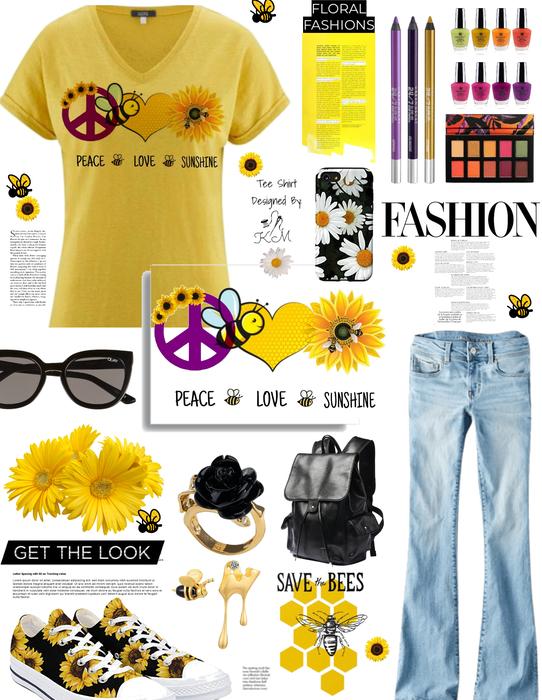 peace love sunshine. floral fashions