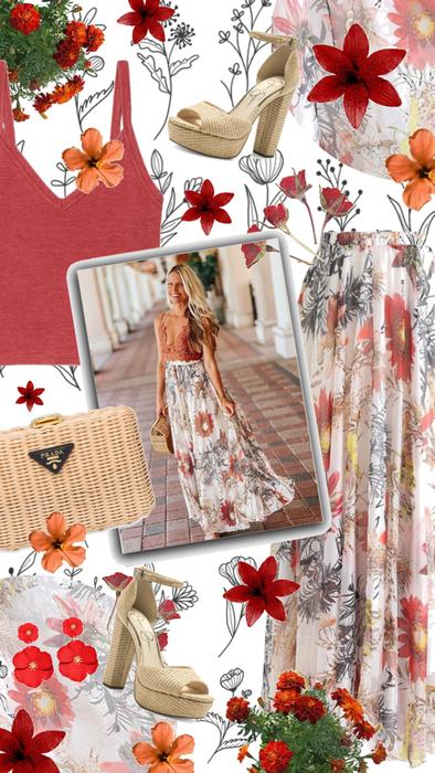 Floral Summer Maxi Skirt