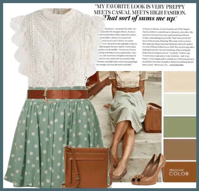 polka mint skirt
