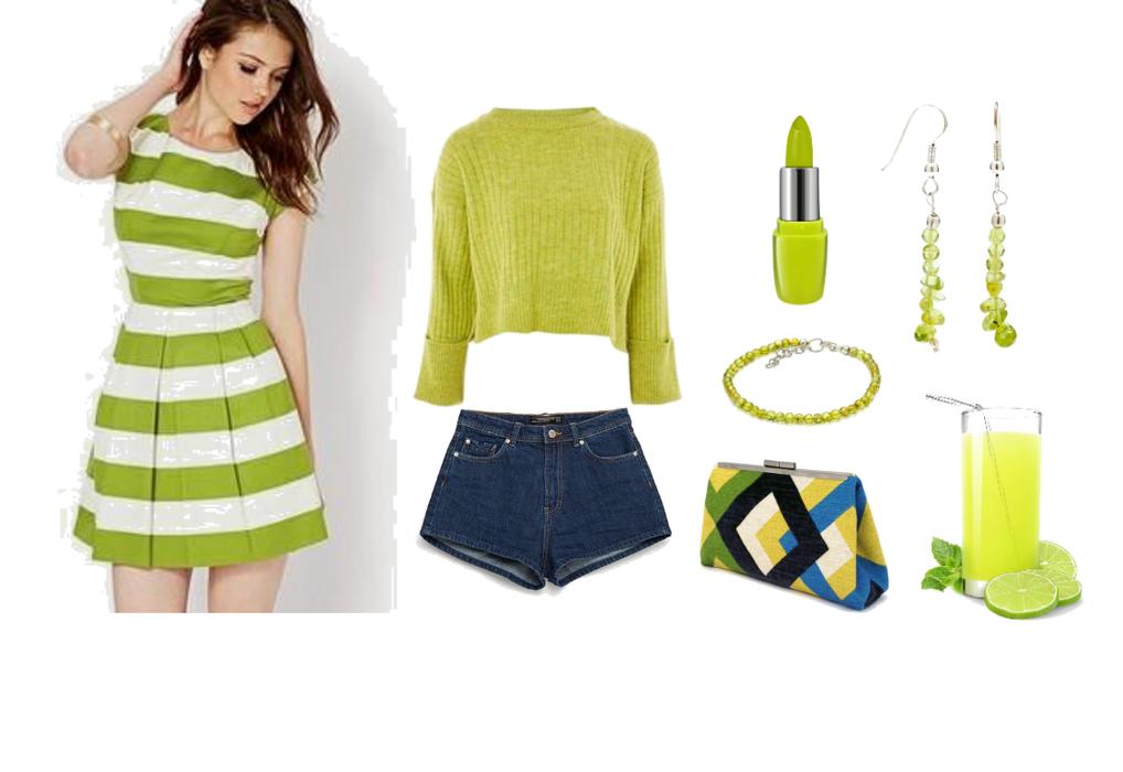 Lime Green Peridot Earrings and Bracelet
