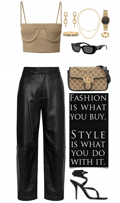 cool,edgy look with gold jewelry