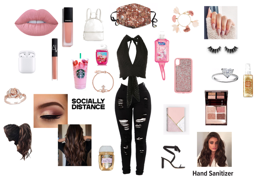 Pink and Black Mask Styling