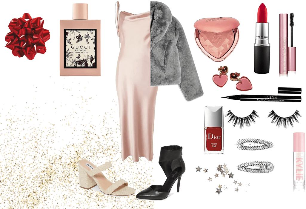 Christmas glam holiday outfits and makeup