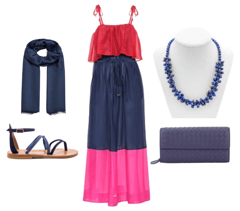 Summer Maxi Dress w Lapis Lazuli Necklace
