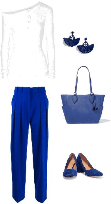 Outfit pantalón azul camisa blanca