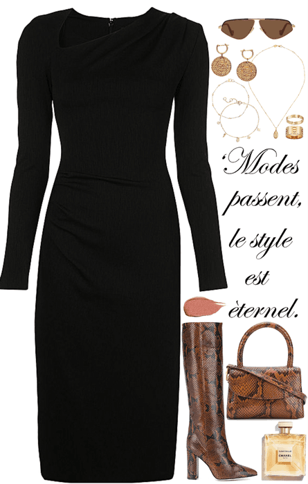 classic black dress with gold jewelry