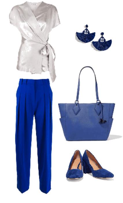 Outfit pantalón azul blusa gris