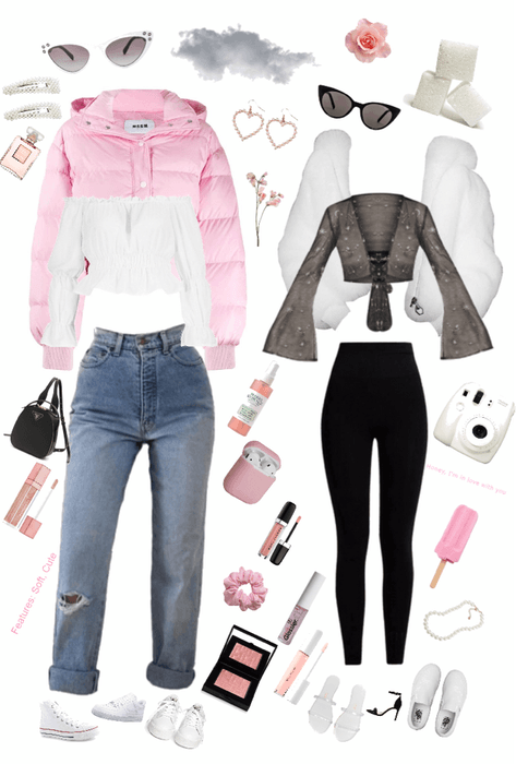 messy girly winter fit