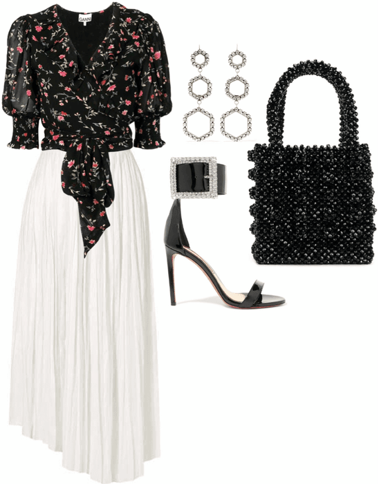 black and white floral look