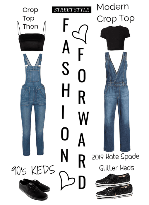 Fashion Forward- Overalls/Keds shoes/crop tops