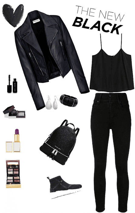 Outfit total Black campera cuero