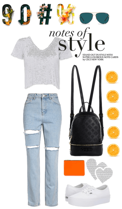 Casual outfit with pops of orange