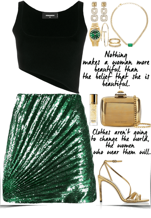 crazy night look with glitter skirt & gold accessories