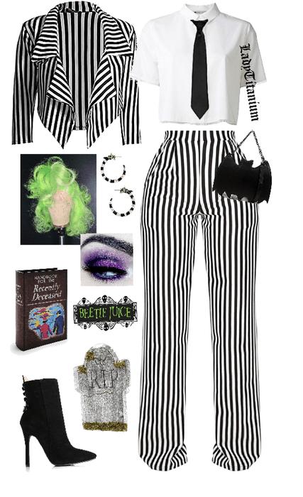 Diy Beetlejuice Costume Outfit Shoplook