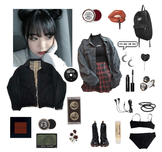 grunge / sad girl moodboard / outfit