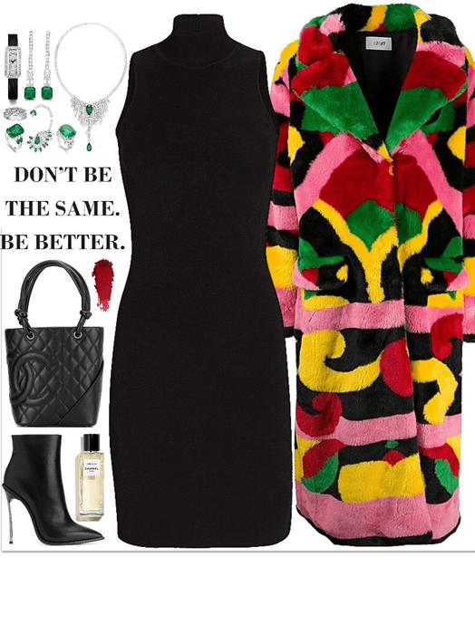 black tight dress,colorful coats & diamonds look