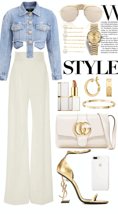 Denim,white and gold✨