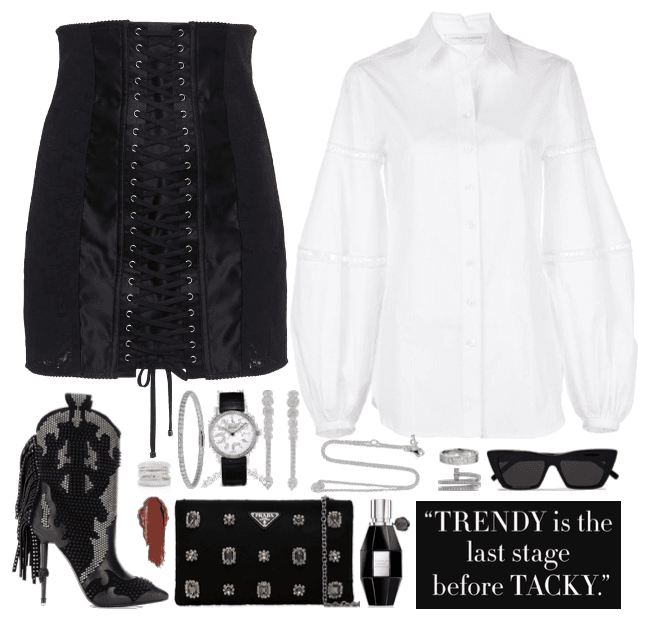 stately, white and black outfit