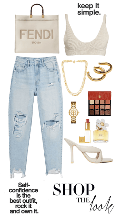 jeans and nice top💛