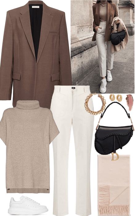 classic chic outfit with brown blazer