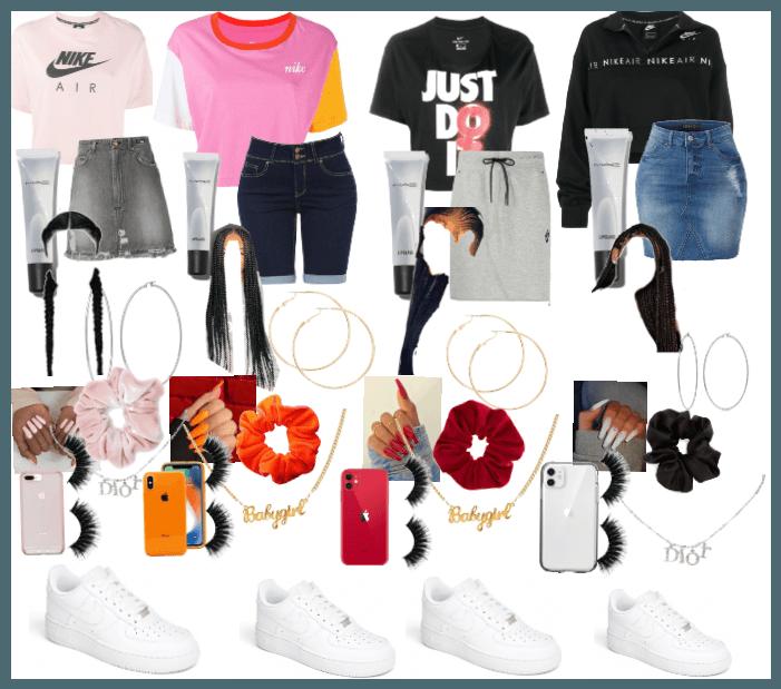white forces \u0026\u0026 nike shirts 😽💕 Outfit