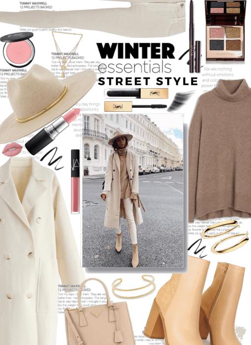 Winter Essential Street Style in Beige