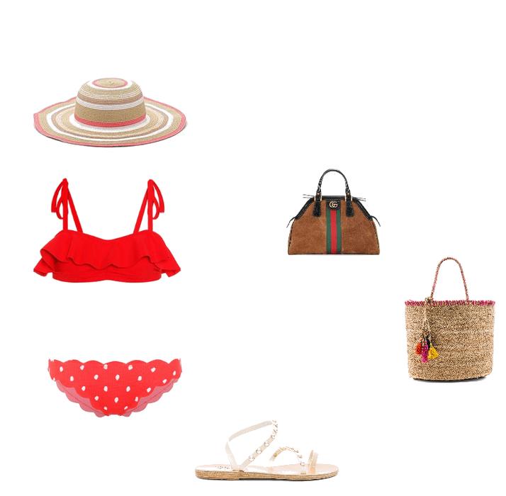 Red Bikini Beach Outfit