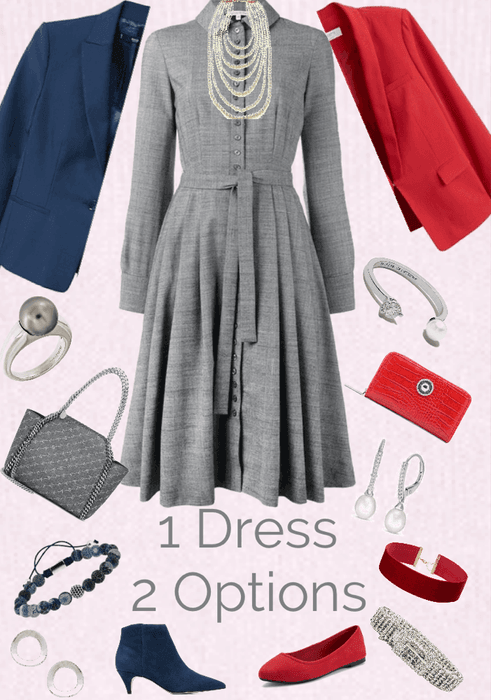 One Dress Two Options: Gray, Red & Navy