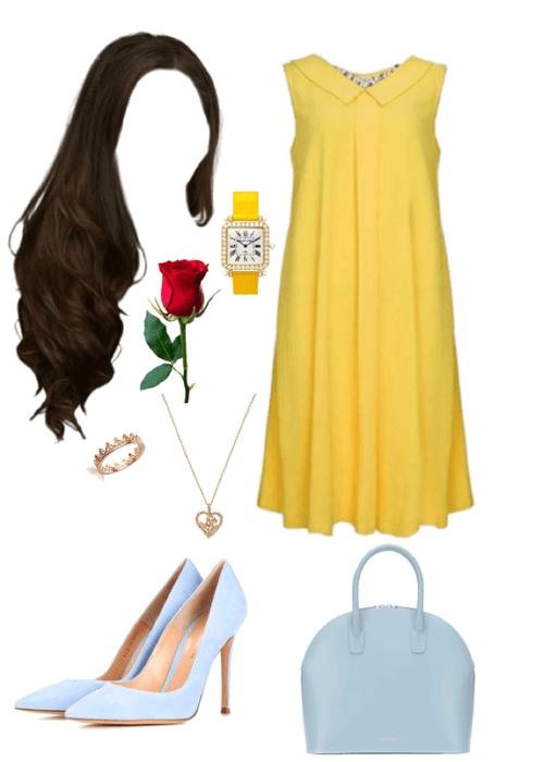 Belle. Yellow. Flower. Blue.
