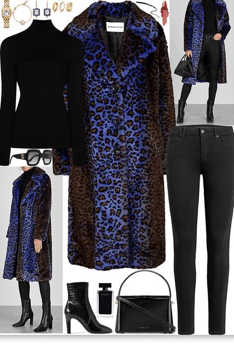 Brown & Blue 'Cheetah print' coat look