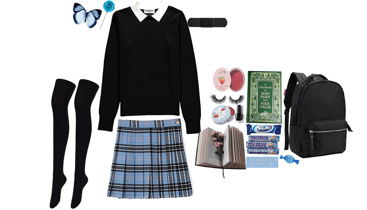 Blue and black soft schoolgirl