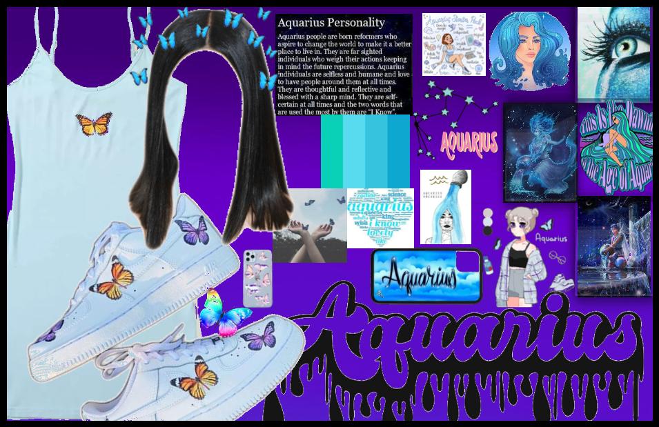 blue butterfly Aquarius look