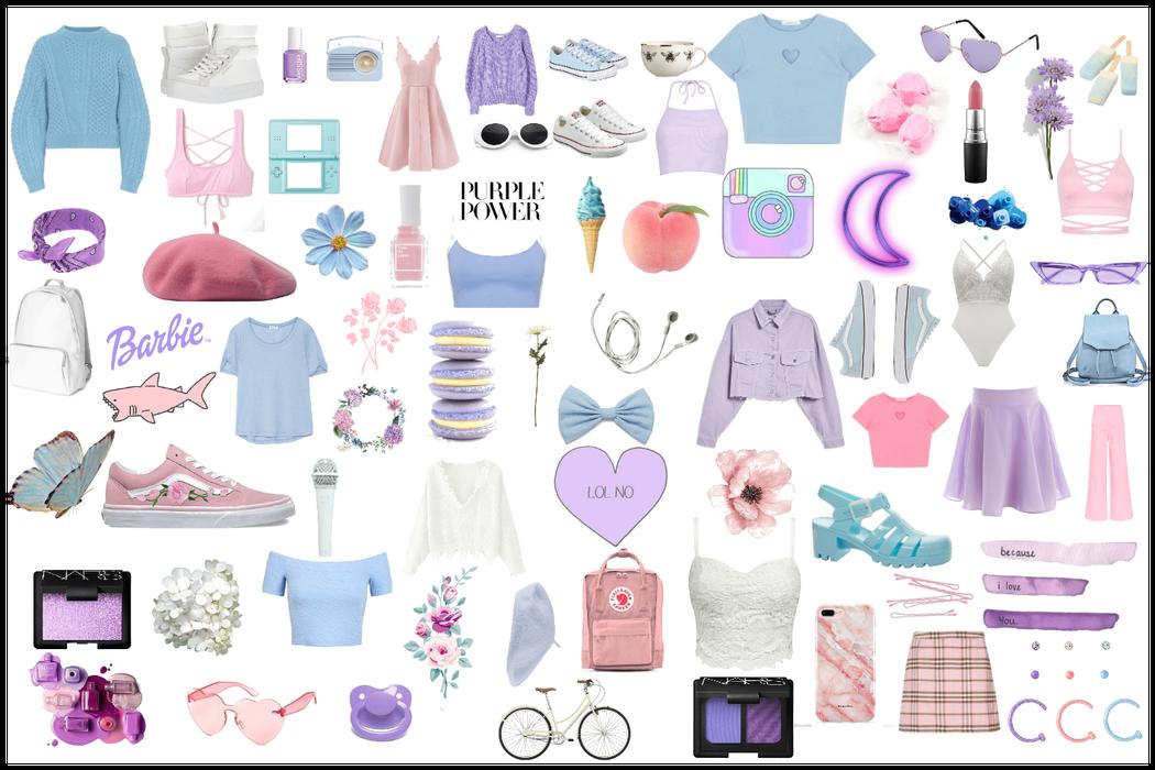 blue pink white purple aesthetic