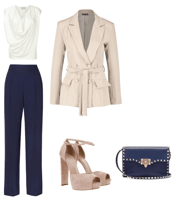 White, Navy and Fawn