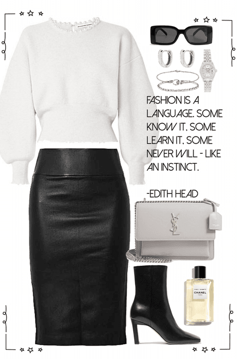 gray sweater & black leather skirt look