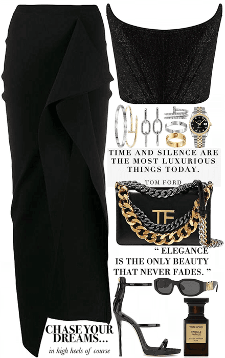 black sexy look with a lot of accessories
