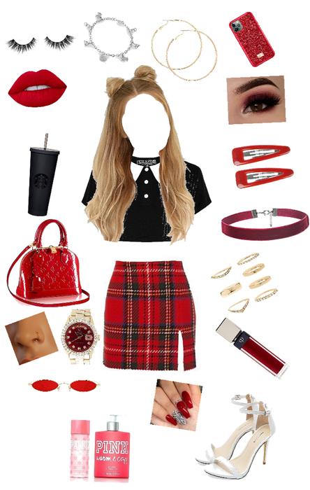 schoolgirl in red