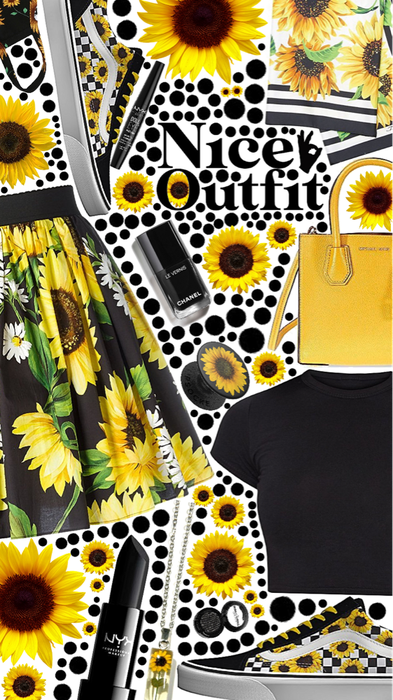 nice outfit 👌sunflower 🌻