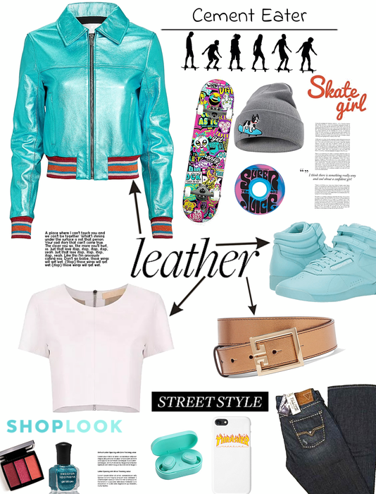 leather on leather.   street style