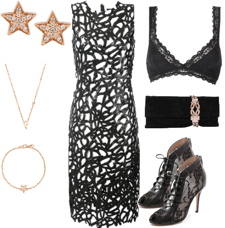 Lace Lacquered Dress