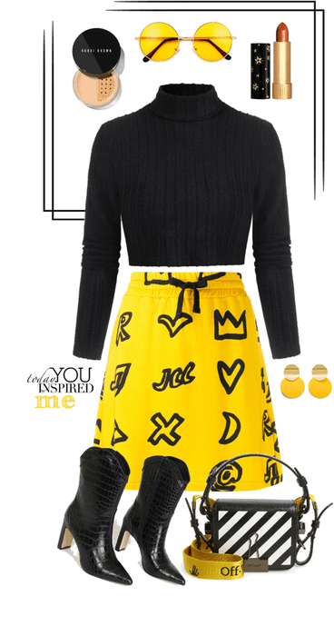 Black Turtleneck With Yellow