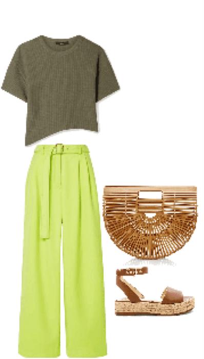 Outfit pantalón verde flúor