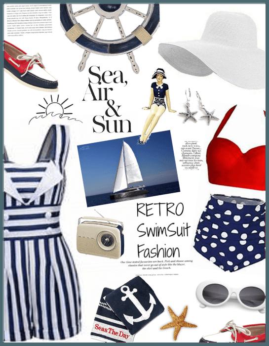 Retro Swimsuit/Sailing/boating