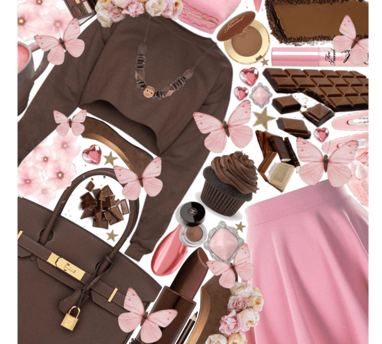 Brown chocolate and pink