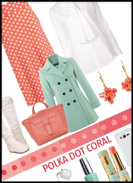 Polka dot Coral/pantone color of year